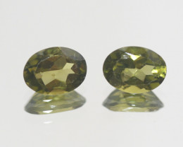 2.75 Ct Peridot Matching Pair Faceted Oval Cut 8x6mm.- Olivine Green.(SKU 4
