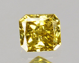 0.09 Cts Natural Untreated Diamond Fancy Yellow Radiant Cut Africa