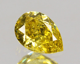 0.20 Cts Natural Untreated Diamond Fancy Yellow Pear Cut Africa