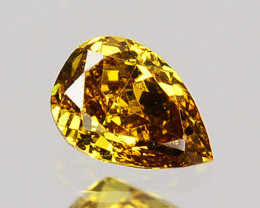 0.12 Cts Natural Untreated Diamond Golden Yellow Pear Cut Africa