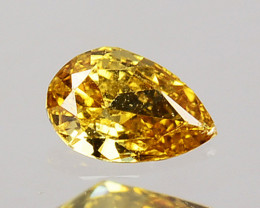 0.08 Cts Natural Untreated Diamond Fancy Yellow Pear Cut Africa