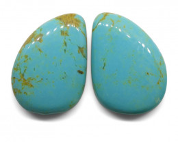 36 ct Pear Turquoise Pair