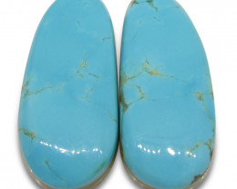 12.6 ct Oval Turquoise Pair-$1 NR Auction
