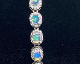 (3) Splendid Natural 8.86tcw. Rainbow Fire Opal CZ Bracelet Unheated