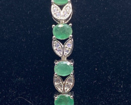 (4) Stunning 10.64tcw. Natural Brazilian Emerald&Cz  Bracelet Unheated