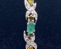 (13) Stunning 12.26tcw. Brazilian Emerald,Tourmaline&White Topaz  Bracelet