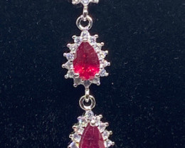 (12) Stunning 10.06tcw. Top Blood Red  Ruby composite & CZ Bracelet