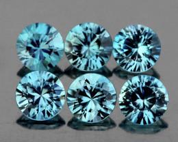 4.00 mm Round 6 pcs 2.04cts Light Blue Zircon [VVS}