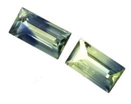 0.54cts  Matching Pair Natural Yellow Parti Colour Baguette Sapphires 2pcs