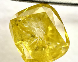 GIA Cushion 3.10 Carat Natural Loose Fancy Vivid Yellow Diamond Clarity Enh