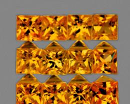 2.40 mm Square princess 12 pcs 1.13cts Orange-Yellow Sapphire [VVS]