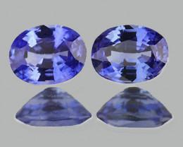 5x4 mm Oval 2 pcs Purple Blue Sapphire [VVS]