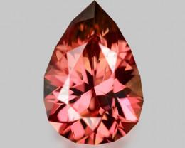 Natural precision pear cut, pink Mahenge rhodolite garnet.