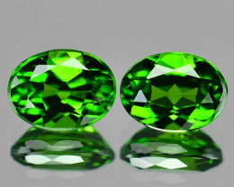 2.86 Cts 2 pcs Natural Green Color Chrome Diopside Loose Gemstone