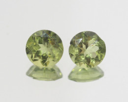2.75 Ct Peridot Matching Pair Faceted Round Cut 7mm.- Olivine Green.(SKU 43