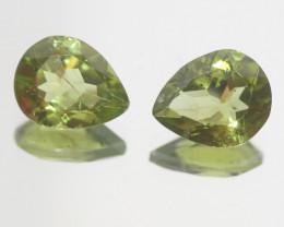 6.4 Ct Peridot Matching Pair Faceted Drop Cut 11x9mm.- Olivine Green.(SKU44