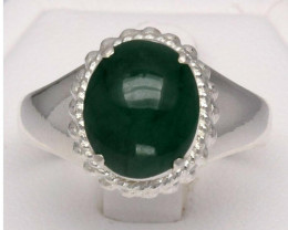 CERTIFICATE Incl.*5.01 Grams Natural Green Jade Ring in 96% Sterling Silver