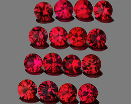 2.00 mm Round Machine Cut 25 pcs 1.06cts Red Spinel [VVS]