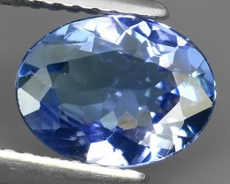 1.70 CTS-EXTRAORDINARY LUSTER BLUE NATURAL TANZANITE OVAL NR!