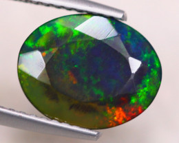 2.00ct Natural Ethiopian Welo Solid Black Smoked Faceted Opal Lot V7547