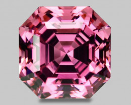 High gem quality, custom Asscher cut natural pink tourmaline.