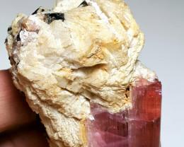 Amazing Damage free Rubelite color  Tourmaline specimen with Feldspar 410Ct