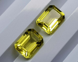 3.55Crt Lemon Quartz Pair Natural Gemstones JI46