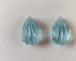 Aquamarine Fluted Engraved Pair  (RAQ185)