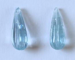 Aquamarine Fluted Drop Pair (RAQ195)