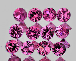 2.50 mm Round Machine Cut 12 pcs 1.03cts Pink Sapphire [VVS]