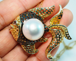 89.55CT SILVER GOLD PLATED SET IN SOUTH SEA PEARL ME70