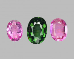 1.69 Cts 3 pcs Un Heated Fancy Color Natural Tourmaline Loose Gemstone
