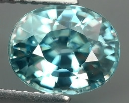 3.05 CtS AWESOME SPARKLE NATURAL NR..BEST OVAL TOP BLUE ZIRCON!!