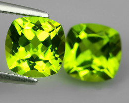 3.60 Cts.Magnificient Top Sparkling Intense Green-Cushion 7.03 MM~ NR!!!
