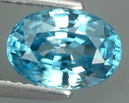 1.30 CTS~EXCEPTIONAL NATURAL OVAL BLUE COLOR ZIRCON CAMBODIA!!
