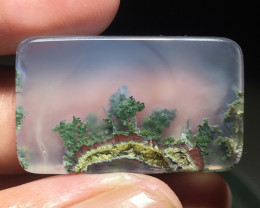 41.00 CT GORGEOUS MOSS AGATE PICTURE MOUNTAIN VIEW FROM INDONESIA