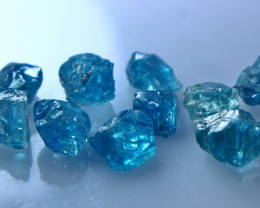 25.70 CT Natural - Unheated Blue Zircon Rough Lot