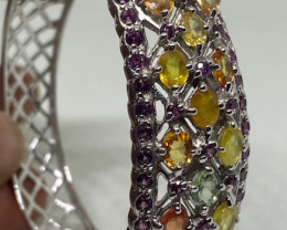 (7) Gorgeous Nat 26.77vtcw  Multi-Colored Sapphire&RG Bangle