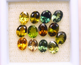3.98ct Natural Multi Color Tourmaline Oval Cut Lot D364