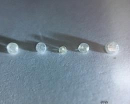0.12 ct 5 x White pique single cut diamonds