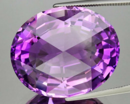 Big! Clean 33.61ct 24x20mm VVS Oval Rose-Cut Natural Unheated Purple Amethy
