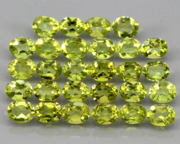 28pcs 10.80 Ct. 5x4mm. Oval Cut 100% Natural Top Rich Green Peridot Unheate