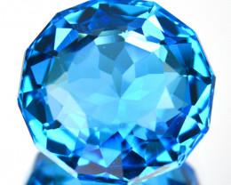 ~CUSTOM CUT~ 5.28 Cts Natural Swiss Blue Topaz Round Cut Brazil