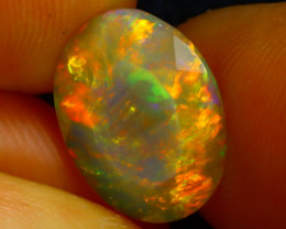 Welo Opal 2.49Ct Natural Faceted Ethiopian Play of Color Opal DR228/A3