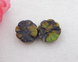 9.5cts Turquoise Flower Cabochon Pair ,Handmade Gemstone ,Turquoise Cabocho
