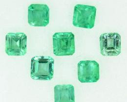 1.69 Cts Natural Vivid Green Emerald 8Pcs Octagon Cut Colombia