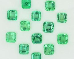 3.78 Cts Natural Vivid Green Colombian Emerald 13 Pcs Octagon Parcel