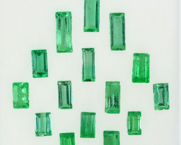 3.34 Cts Natural Vivid Green Emerald 15Pcs Baguette Cut Colombia