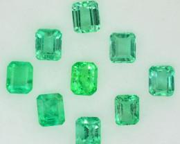 3.10 Cts Natural Vivid Green Colombian Emerald 9 Pcs Octagon Parcel