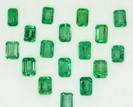 5.26Cts Natural Vivid Green Colombian Emerald 17 Pcs Octagon Parcel